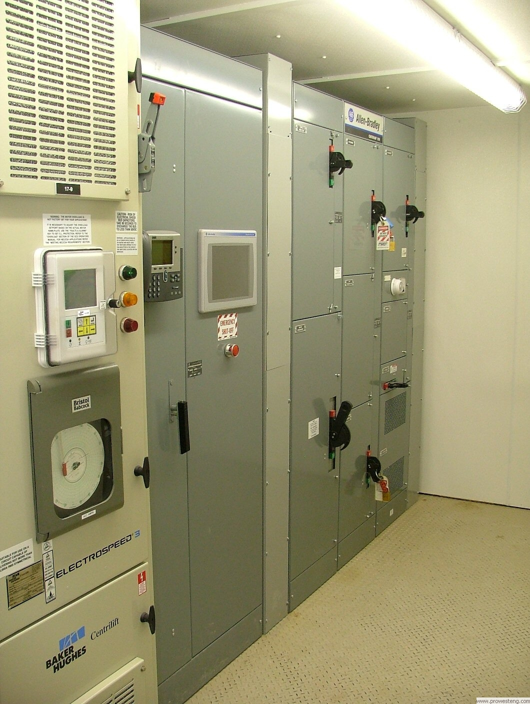 Allen Bradley Centerline Motor Control Center, along with adjacent control panel and VFD.